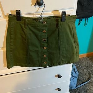 forever 21 army green button down jean skirt
